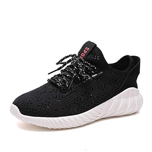Zapatillas De Running Flyknit para Mujer, Zapatillas De Senderismo SEVENWELL Athletic Workout Zapatillas De Senderismo para Adolescentes Gilrs Negro