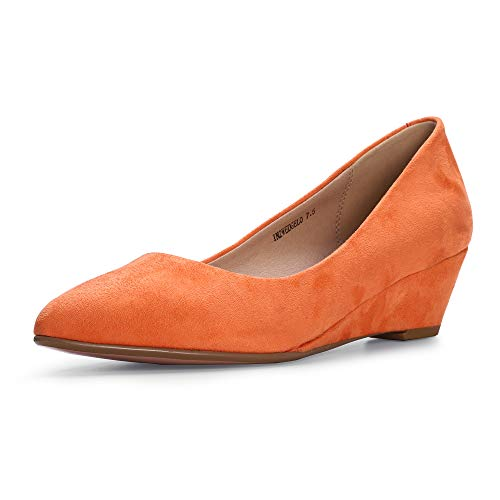 IDIFU Women's IN2 Wedge-LO Classic Low Heel Wedge Pump Closed Pointed Toe Slip on Office Work Shoes (6.5 M US, Coral Suede)