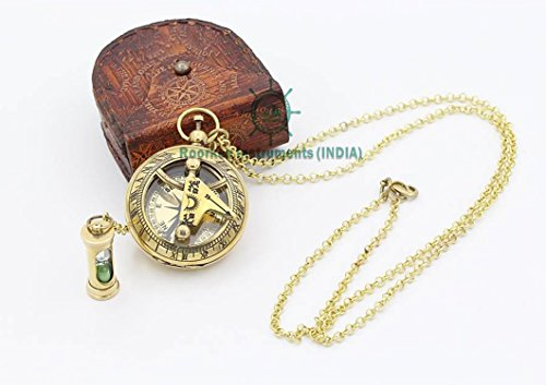 Necklace Sundial Compass with Mini Hour glass W/ case