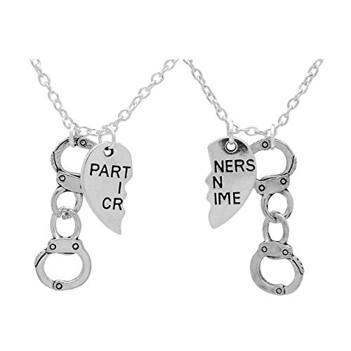Art Attack Partners in Crime Necklace, Handcuff Hand Cuff BFF Matching Best Friend Broken Heart Charms (Silver)