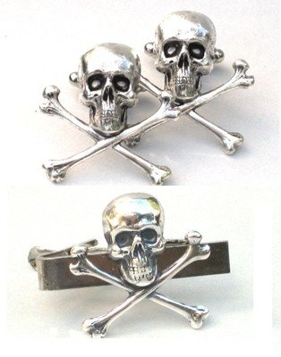 09fdc5f1d9fe Image Unavailable. Image not available for. Color: Steampunk - SKULL and  CROSSBONES Cufflinks Tie Clip ...