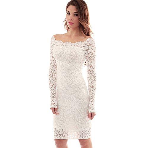 bd1e03888c0f bien maltratadoAONER- Mujer Vestido Corto Bodycon Elegante de Encaje ...
