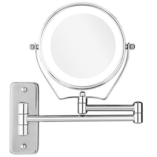 Homdox Magnifying Makeup Mirror Wall Mount LED Lighted Cosmetic Vanity Mirror for Bathroom Two Sided Shaving Mirror 7X Magnification 6 inch