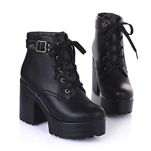 Latasa Women's Fashion Platform Ankle-high High-Heel Chunky Boots, Lace-up Martin Boots (7, Black)