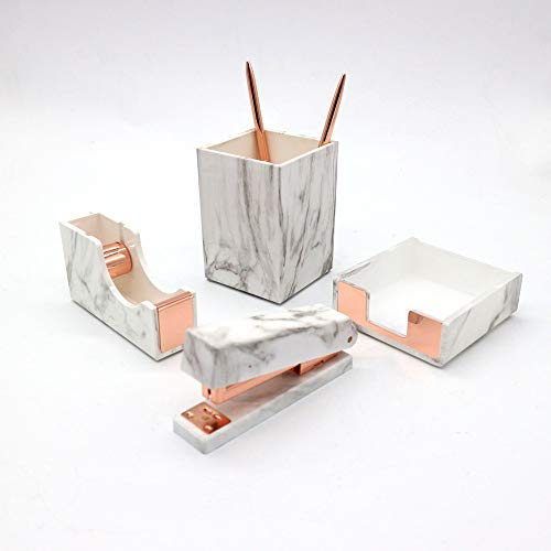 Multibey 2019 4 Pack Office Supplies Kit Stationery Desk Accessories Set Pen Holder Pencil Cup, Tape Dispenser, Stapler, Memo Note Pad Tray (Marble Rose Gold)