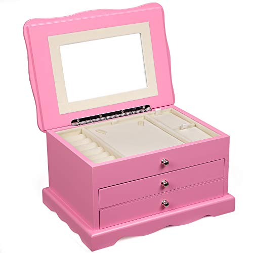 SONGMICS Girls Jewelry Box Pink Wooden Case Organizer Mirror UJOW03P -