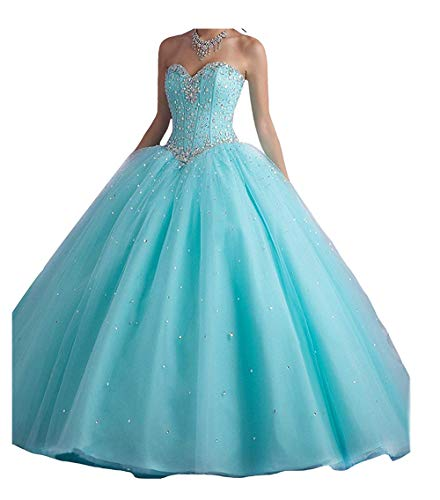 XIA Women's Shiny Beaded Ball Gowns Long Tulle Quinceanera Prom Dress with Shawl Teal (Quinceanera Dresses)