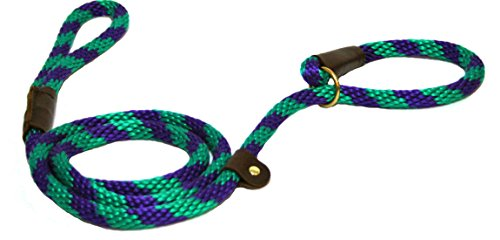 Green Slip Lead - Lone Wolf Slip Lead with Leash and Collar for Pets, 1/2 by 6-Feet, Grape Twist Green/Purple Spiral