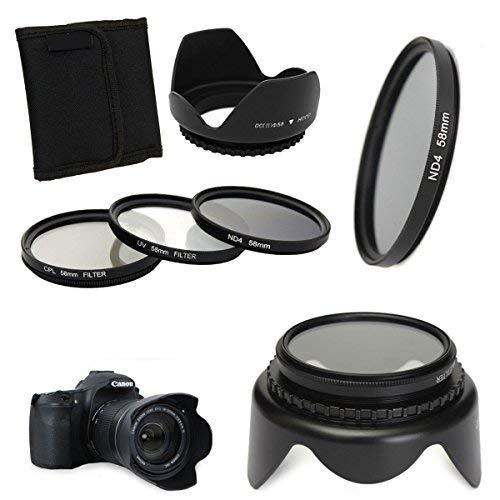 58mm UV CPL ND4 Circular Polarizing Filter Kit Set + Lens Hood For Canon ()