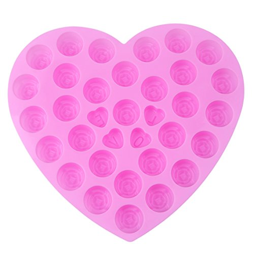 Rurah 30-Cavity Love Heart Rose Flowers Silicone Chocolate Jelly Candy Mold, Cake Baking Mold Craft ()