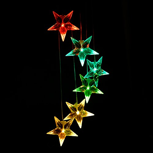 Clear Star Color Changing Solar Light Wind Chimes, Multi-color solar mobile Wind Spinner outdoor garden pation yard garland decoration by Yeyo