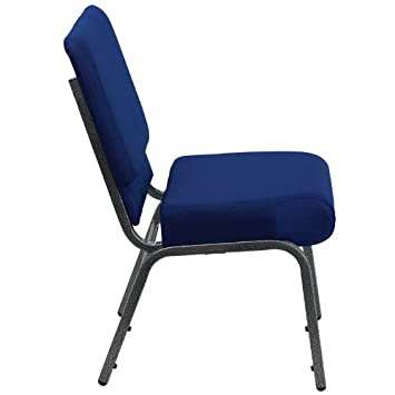 Flash Furniture HERCULES Series 21 W Stacking Church Chair in Navy Blue Fabric – Silver Vein Frame