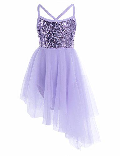 Dancewear Recital Costumes - YiZYiF Girl's Ballerina Camisole Sequined Dancing Lyrical Dress Asymmetric Skirt Dancewear Lavender