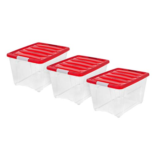 IRIS USA, TB-56D, Holiday Plastic Storage Tote, 53 Qt, Red, 3 Pack for $<!--$39.99-->
