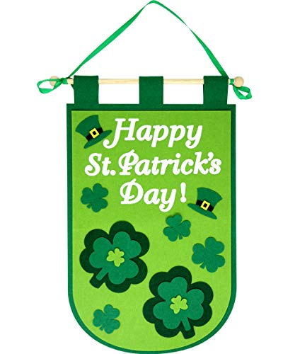 Happy St. Patrick's Day Shamrock Door Banner Green Felt for Home Hanging Decoration Party -