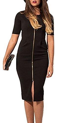 shelovesclothing Damen Kleid Schwarz Schwarz