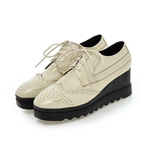 VogueZone009 Damen Schnüren Mittler Absatz Rein PU Leder Quadratisch Zehe Pumps Schuhe Cremefarben