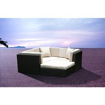 Outdoor patio wicker furniture sofa sectional for Sofa exterior amazon