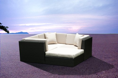 Outdoor Wicker Furniture New All Weather PE Resin 4pc Patio Deep Seating Lounge Sectional Sofa Set.