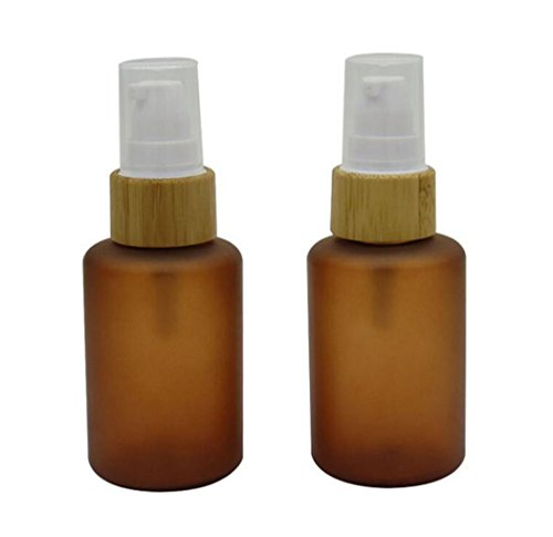 (2PCS 60ML 2oz Brown PET With Bamboo Head Empty Refillable Airless Vacuum Pump Bottle Travel Face Cream Lotion Toner Toiletries Liquid Emulsion Container Pot Bottles)