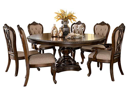 Bautistia Italian Country 7PC Dining Set Round/Oval Pedestal Table, 2 Arm & 4 Side Chair in Cherry