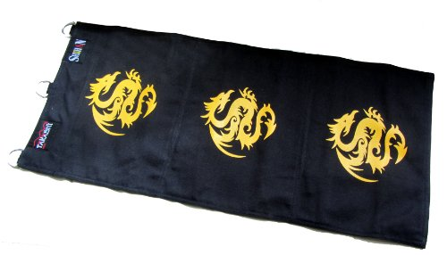 (KUNG FU Canvas Wall Striking Bag 3 Unit - BLACK with GOLD DRAGON)