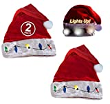 Funny Party Hats Santa Hats - Christmas Novelty Hats - Blinking Santa Hat - LED Blinking Lights Holiday Hats (2 Pack)