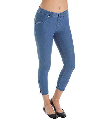 (HUE Women's Ankle Slit Essential Denim Capris Medium Wash Small 24 24)