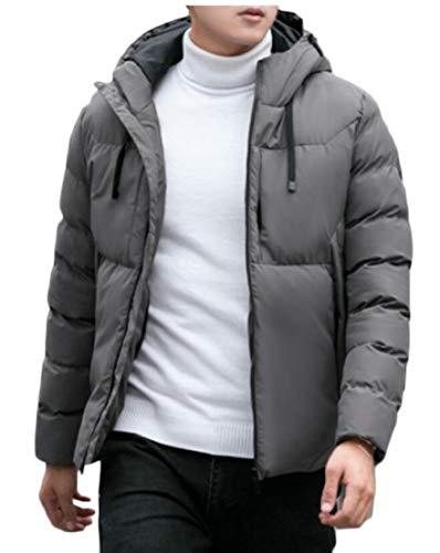 Thickened Down Men's Solid Coat Hoodie TTYLLMAO Jacket Gery Overcoat Winter Quilted xptUdw