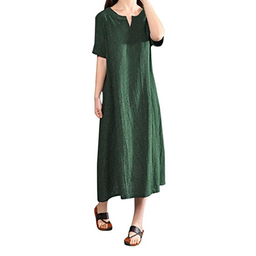 50' Solid Point - Cotton Linen Dress SanCanSn Women Plus Size Bohemia Casual Solid V-Neck Short Sleeve Dress(Green,4XL)