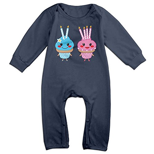 Eilinqch Two Sweet Cupcakes With Two And Four Lit Candles Baby Boys Girls Cute Long Sleeve Romper Jumpsuit Bodysuit 6 M Navy