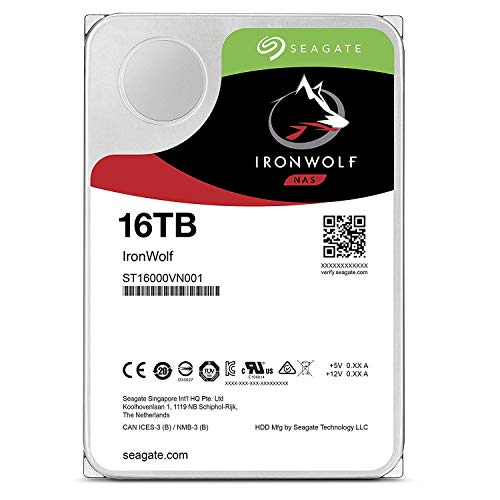 Seagate IronWolf 16TB NAS Internal Hard Drive HDD – 3.5 Inch SATA 6GB/S 7200 RPM 256MB Cache (ST16000VN001)