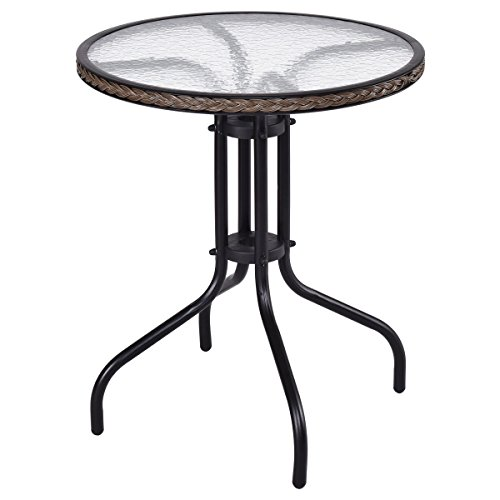 Amazon totoshop new patio furniture glass top patio round totoshop new patio furniture glass top patio round table steel frame dining table 24 watchthetrailerfo