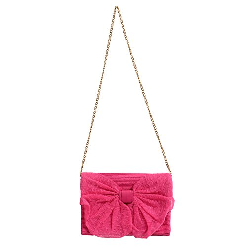 Red Valentino Women's Pink Bow Decorated Clutch Shoulder Bag (Bow Valentino Bag)