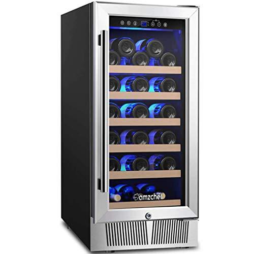 "AMZCHEF 15"" Wine Cooler Refrigerator Built in or Freestanding Wine Cooler, Quiet, Constant Temperature & Energy Efficient"