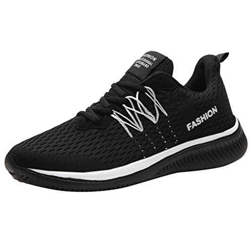 Mosunx Athletic Men's Lace Up Breathable Running Shoe,Lightweight Mesh Elastic Sneakers White ()