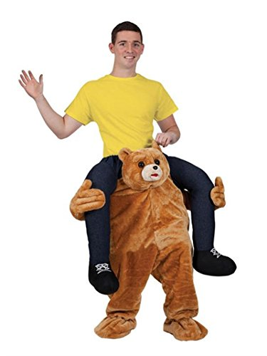 (rushopn Ride on Me Teddy Bear Carry Me Ride Mascot Costume Brown Bear Stuffed Stag Mascot)