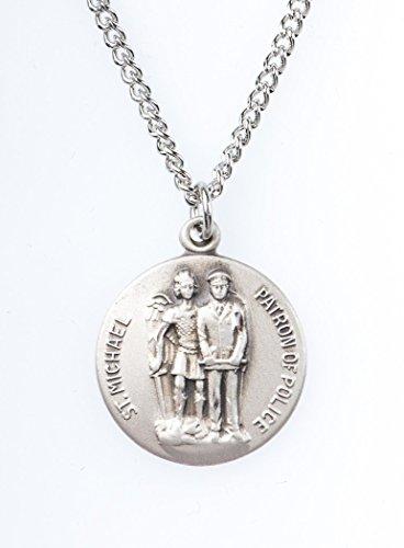 Sterling Silver Saint St Michael Patron of Police Dime Size Medal Pendant, 3/4 ()
