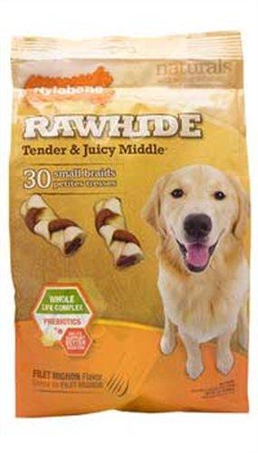 Nylabone Enhanced Rawhide Toro Braid Treats, Filet Mignon, 30 Count, My Pet Supplies