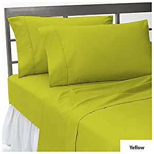 """THREE {3} PCS FITTED SHEET FULL SIZE WITH 29"""" DEEP POCKET IN NEW YELLOW COLOR 100% EGYPTIAN COTTON { 500 THREAD COUNT / SOLID PATTERN }"""