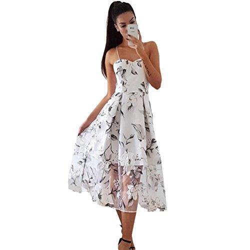 YouPue Damen Sommerkleid Sexy Schulterfrei Ärmelloses Blumenkleid Kleid Halter Strap Hoher Schlitz Strandkleid Schwarz
