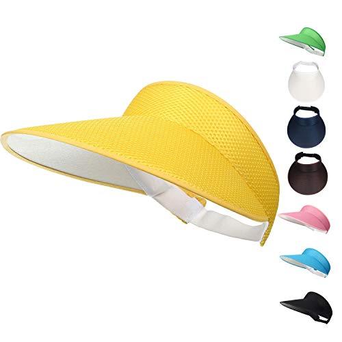 (Woopoo Multicolor Sun Visors for Women Suns creen Sweat-Absorbent Beach Visor (Yellow))