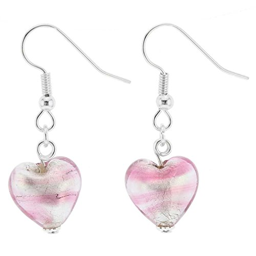 - GlassOfVenice Murano Glass Heart Earrings - Striped Silver Pink