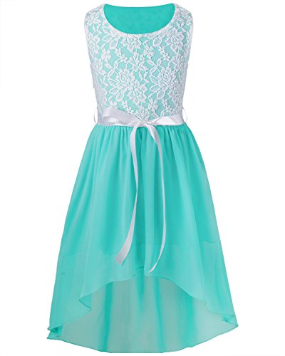 iiniim Girls High Low Chiffon Wedding Bridesmaid Pageant Party Flower Girl Dress Light Blue 12