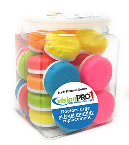Contact Lens Case, Vision Pro 1, (Pack of 12) in convenient storage jar ()