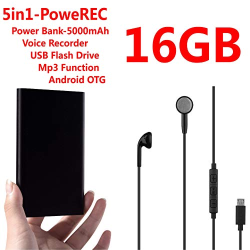 Digital Voice Recorder VOICE ACTIVATION Mini Voice Recorder Power Bank 5000mAh USB Flash Drive and Mp3 Function Continuous recording for 400 hours 16GB for Class, Meeting, Lectures