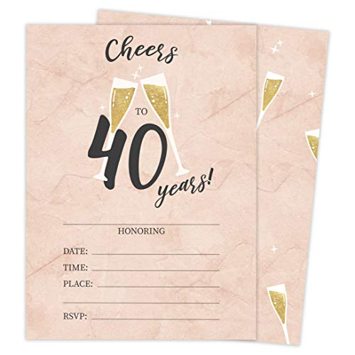 40th Birthday Party Invitations (40th Birthday Style R Happy Birthday Invitations Invite Cards (25 Count) With Envelopes and Seal Stickers Vinyl Girls Boys Kids Party)