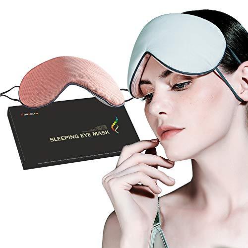 OBBOCK Eye mask for Sleeping,Sleeping mask,Free Sleep earplugs,Eye mask with Both Cold and Warm Effects (Blue+Pink)