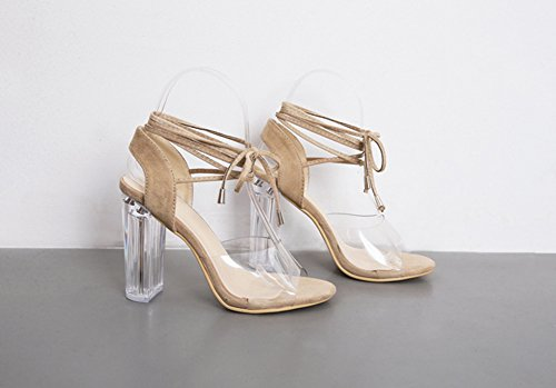 Aisun Damen Sexy Offene Zehen Transparent Kunststoff Blockabsatz Sandale mit Schnürung Aprikosenfarben