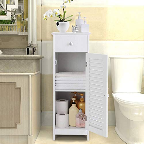 US Fast Shipment Quaanti Bathroom Floor Cabinet, Free-Standing Storage Organizer Unit with Drawer and Single Door and Shelf Cupboard, Side Rack Stand Table for Entryway/Hallway/Kitchen (White)
